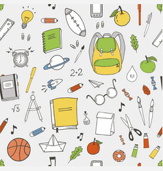 school items pattern vector image