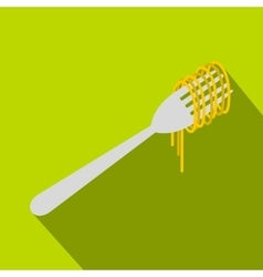Spaghetti on a fork icon flat style vector image vector image