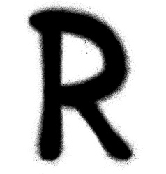 Sprayed r font graffiti in black over white vector