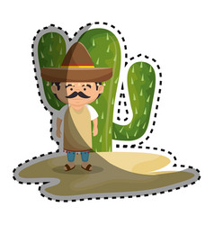 Sticker background cactus with man mexican vector