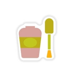 Stylish paper sticker on white background nail vector