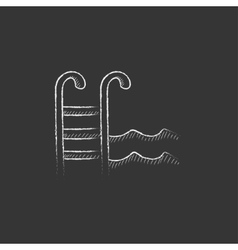 Swimming pool with ladder drawn in chalk icon vector