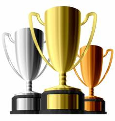 three trophies vector image vector image