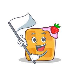 Waffle character cartoon design with flag vector