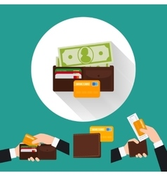 Wallet flat icon with card and cash vector image vector image