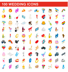 100 wedding icons set isometric 3d style vector