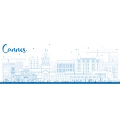 Outline cannes skyline with blue buildings vector