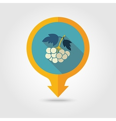 Rowan branch flat pin map icon berry fruit vector