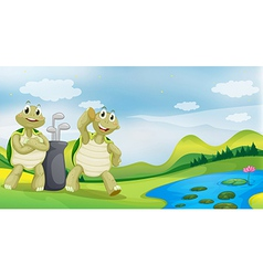 Cartoon golfing turtles vector