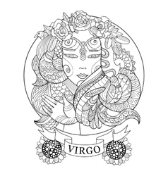 Virgo zodiac sign coloring book for adults vector