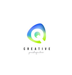 Q letter logo design with oval green blue shape vector