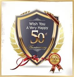 Anniversary golden shield vector
