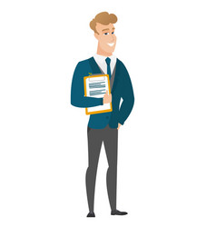Groom holding clipboard with documents vector