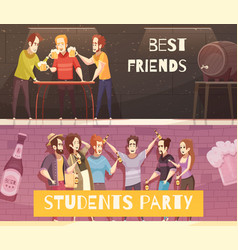 Students beer party horizontal banners vector