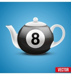 Ceramic teapot in billiard pool ball style vector