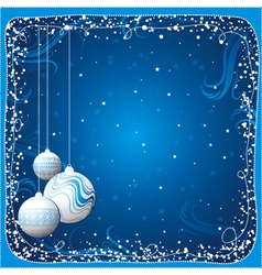 Blue christmas card with balls vector