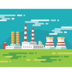 Industrial factory building - flat vector