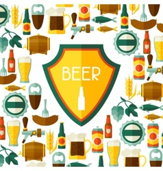 Background design with beer icons and objects vector