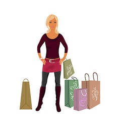 Fashion shopping girl with bags vector