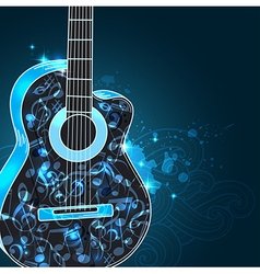 Guitar and blue notes vector