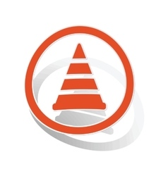 Traffic cone sign sticker orange vector