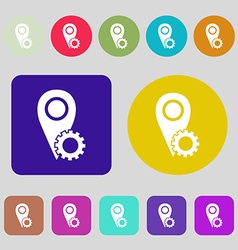 Map pointer setting icon sign 12 colored buttons vector