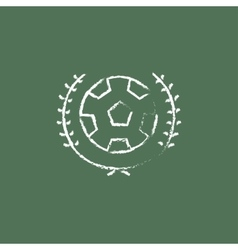 Soccer badge icon drawn in chalk vector