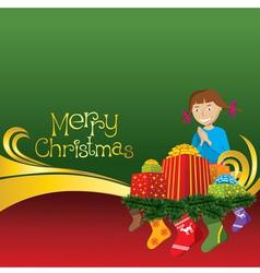 2012 christmas card with girl gifts and socks vector image