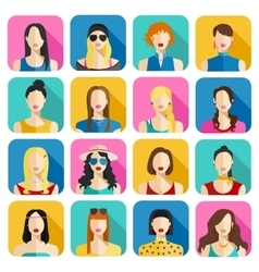Set of women avatars icons colorful female faces vector