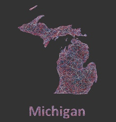 Michigan line art map vector