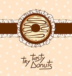 Background with tasty donut vector