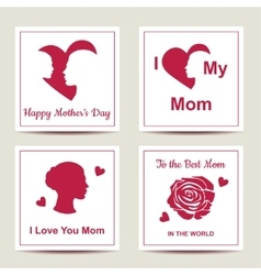 Set of cards with text for Happy Mothers Day vector image