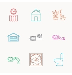 Ventilation garage and heat radiator icons vector