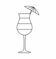 Layered cocktail with umbrella icon vector