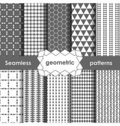 Geometric grey seamless patterns set vector