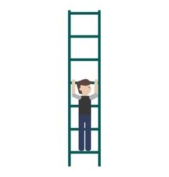 Man climbing ladder icon vector