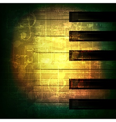Abstract green grunge music background with piano vector