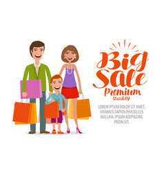 big sale banner happy family with shopping bags vector image