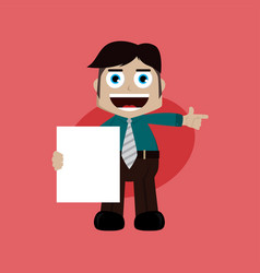 Businessman manager at work holding blank sign vector