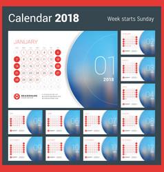 Calendar for 2018 year design print vector