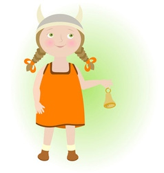 Cartoon girl in viking helmet taurus zodiac sign vector