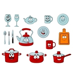 Cartoon smiling kitchenware and glassware vector
