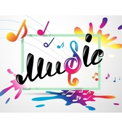 Colorful music logo in frame vector image vector image