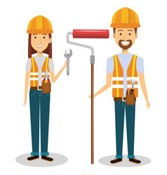 construction workers avatars characters vector image