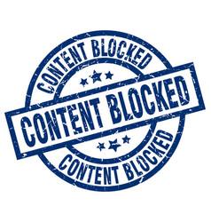 Content blocked blue round grunge stamp vector