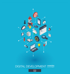 development integrated 3d web icons digital vector image vector image