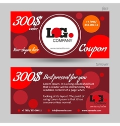 Discount coupon template red background vector image