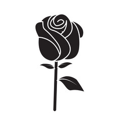 Flat black rose icon vector