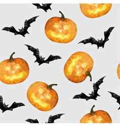 Halloween seamless pattern with pumpkin and bat vector image