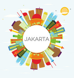 Jakarta skyline with color buildings blue sky and vector